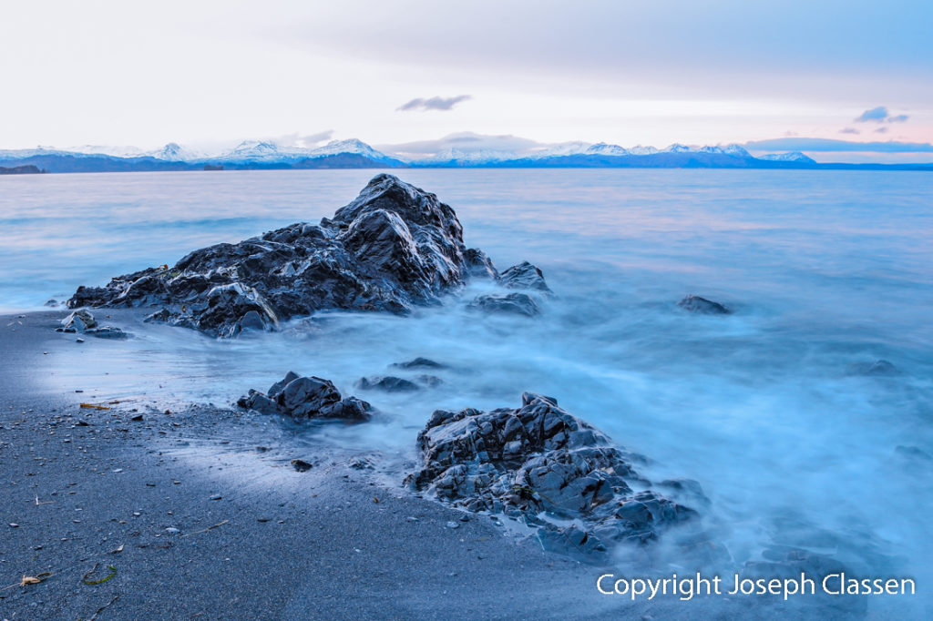 A long exposure photo of the incoming waves of Isthmus Bay. Kodiak Island, Alaska. Joseph Classen.